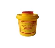 """Ёмкость-контейнер для сбора острого-инструментария """"МедКом"""", 1л, класс """"Б"""", (цв. жёлтый)"""