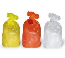 """Пакеты для медотходов класс """"Б"""" 70х100 см 110л бирка+стяжка 15 мкр (цв. жёлтый) 100шт/уп"""