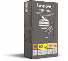 Перчатки смотровые латексные н/с н/о текстурированные, Benovy