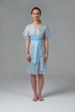 Халат-кимоно без рукавов голубой